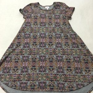 Lularoe Girls Scarlett Dress Gray Purple Geometric